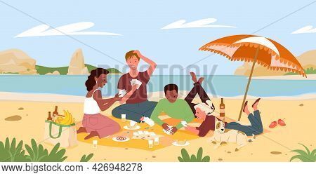 Friends People On Beach Picnic In Summer Sea Shore Landscape, Playing Fun Card Game