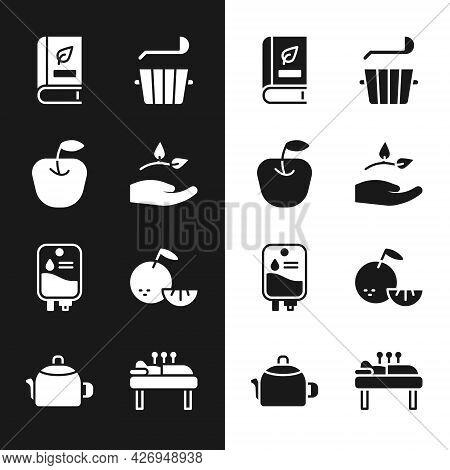 Set Leaf In Hand, Apple, Medical Book, Sauna Bucket Ladle, Iv Bag, Citrus Fruit, Acupuncture Therapy