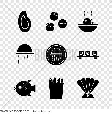 Set Mussel, Takoyaki, Puffer Fish Soup, Fishing Bucket With Fishes, Scallop Sea Shell, Jellyfish And