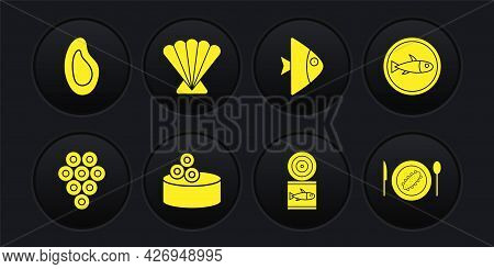 Set Caviar, Served Fish On Plate, Tin Can With Caviar, Canned, Fish, Scallop Sea Shell, Cucumber And