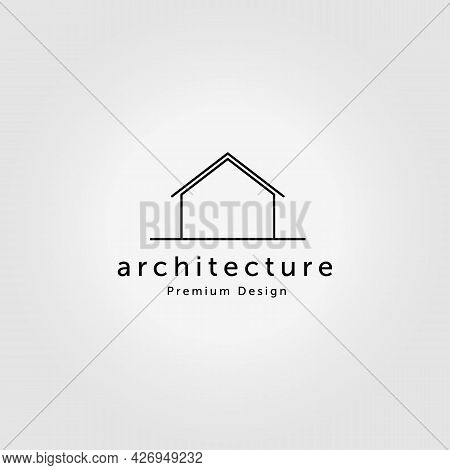 Minimal House Logo Design Vector Line Art Monoline Illustration