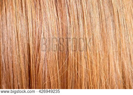 Close Up And Selective Focus Of The Texture Of Natural Healthy Straight Brown Hair. Background For H
