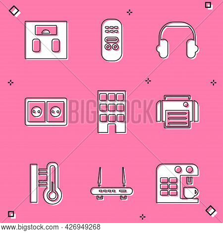 Set Bathroom Scales, Remote Control, Headphones, Electrical Outlet, House, Printer, Meteorology Ther