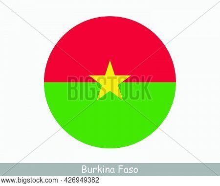 Burkina Faso Round Circle Flag. Burkinese Circular Button Banner Icon. Eps Vector