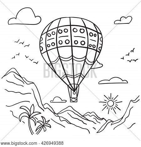 Parachute In The Sky Coloring Page Vector Illustration Isolated On White Background Kids Painting Fo