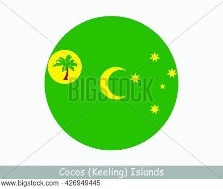 Cocos Keeling Islands Round Circle Flag. Australian Indian Ocean Territory, External Territory Of Au