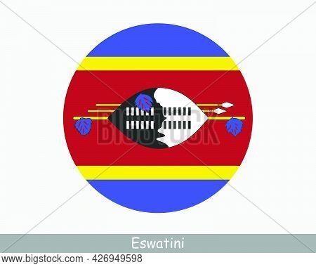 Eswatini Round Circle Flag. Swaziland Circular Button Banner Icon. Eps Vector