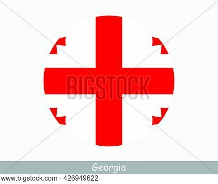 Georgia Round Circle Flag. Georgian Circular Button Banner Icon. Eps Vector