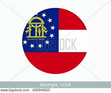 Georgia Round Circle Flag. Ga Usa State Circular Button Banner Icon. Georgia United States Of Americ