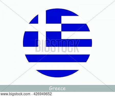 Greece Round Circle Flag. Greek Circular Button Banner Icon. Hellenic Republic Eps Vector