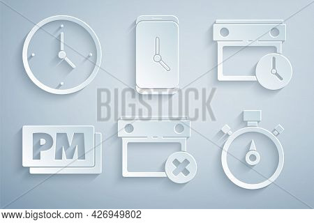Set Calendar Date Delete, And Clock, Clock Pm, Stopwatch, Alarm App Mobile And Icon. Vector