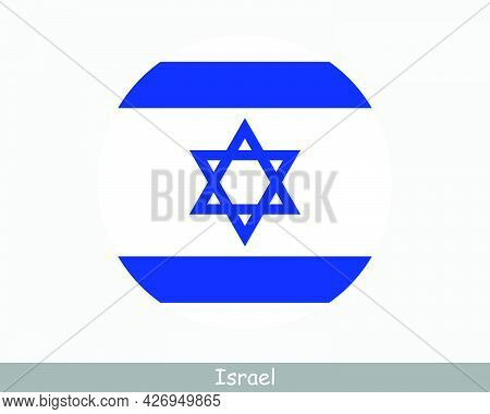 Israel Round Circle Flag. Israeli Circular Button Banner Icon. Eps Vector