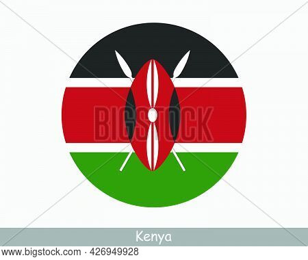 Kenya Round Circle Flag. Kenyan Circular Button Banner Icon. Eps Vector
