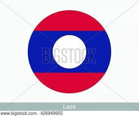 Laos Round Circle Flag. Lao Circular Button Banner Icon. Laotian Eps Vector