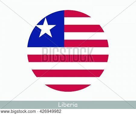 Liberia Round Circle Flag. Liberian Circular Button Banner Icon. Eps Vector