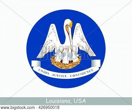 Louisiana Round Circle Flag. La Usa State Circular Button Banner Icon. Louisiana United States Of Am