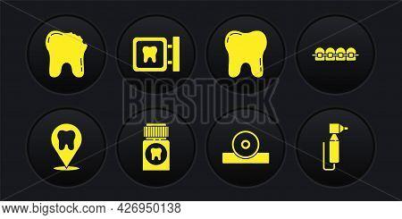 Set Dental Clinic Location, Teeth With Braces, Painkiller Tablet, Otolaryngological Head Reflector,