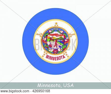 Minnesota Round Circle Flag. Mn Usa State Circular Button Banner Icon. Minnesota United States Of Am