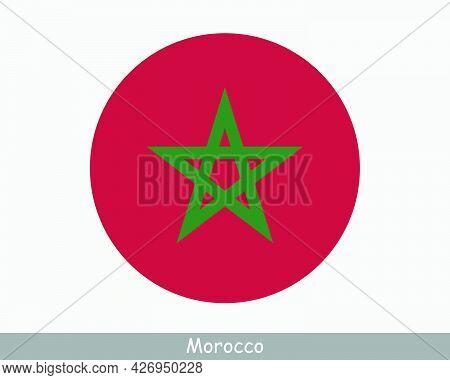Morocco Round Circle Flag. Moroccan Circular Button Banner Icon. Eps Vector