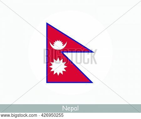 Nepal Round Circle Flag. Nepali Nepalese Circular Button Banner Icon. Eps Vector