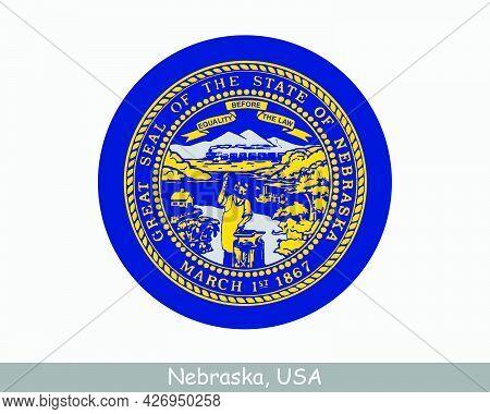 Nebraska Round Circle Flag. Ne Usa State Circular Button Banner Icon. Nebraska United States Of Amer