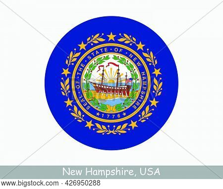 New Hampshire Round Circle Flag. Nh Usa State Circular Button Banner Icon. New Hampshire United Stat