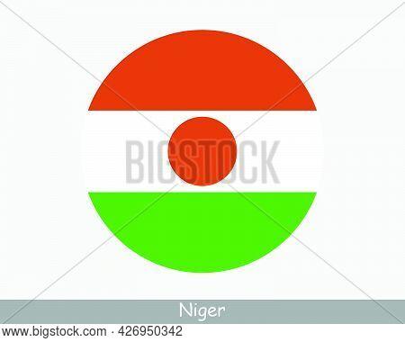 Niger Round Circle Flag. Nigerien Circular Button Banner Icon. Eps Vector