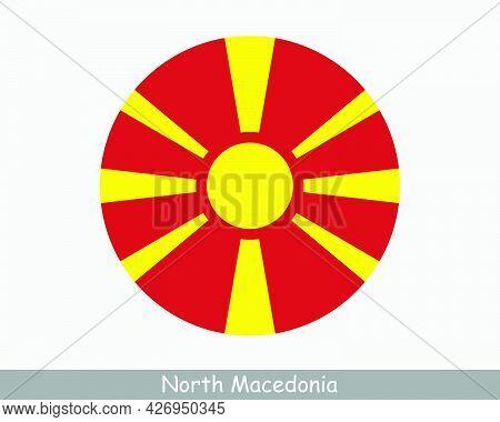 North Macedonia Round Circle Flag. Macedonian Circular Button Banner Icon. Eps Vector
