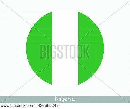 Nigeria Round Circle Flag. Nigerian Circular Button Banner Icon. Eps Vector