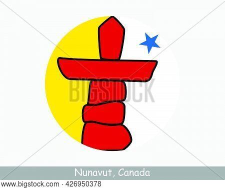 Nunavut Canada Round Circle Flag. Nu Canadian Territory Circular Button Banner Icon. Eps Vector