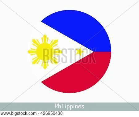 Philippines Round Circle Flag. Filipino Circular Button Banner Icon. Pinoy Flag Eps Vector