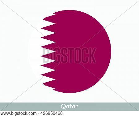 Qatar Round Circle Flag. Qatari Circular Button Banner Icon. Eps Vector