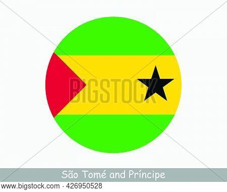 Sao Tome And Principe Round Circle Flag. Sao Tomean Circular Button Banner Icon. Eps Vector