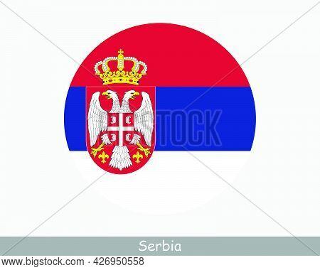 Serbia Round Circle Flag. Serbian Circular Button Banner Icon. Eps Vector