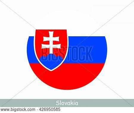 Slovakia Round Circle Flag. Slovak Circular Button Banner Icon. Eps Vector