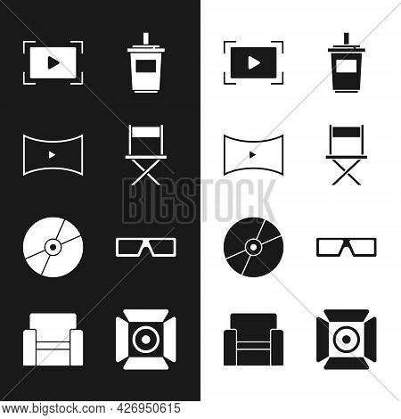 Set Director Movie Chair, Online Play Video, Paper Glass With Water, Cd Dvd Disk, 3d Cinema Glasses,