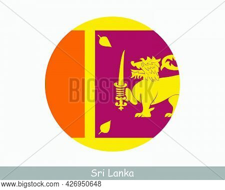 Sri Lanka Round Circle Flag. Sri Lankan Circular Button Banner Icon. Eps Vector