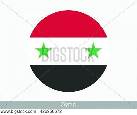 Syria Round Circle Flag. Syrian Circular Button Banner Icon. Eps Vector