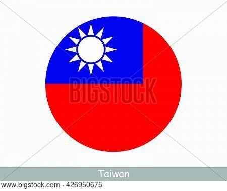 Taiwan Round Circle Flag. Taiwanese Circular Button Banner Icon. Republic Of China Flag Eps Vector