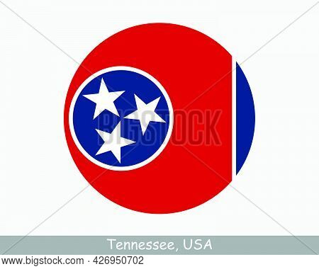 Tennessee Round Circle Flag. Tn Usa State Circular Button Banner Icon. Tennessee United States Of Am