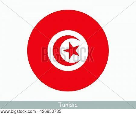 Tunisia Round Circle Flag. Tunisian Circular Button Banner Icon. Eps Vector
