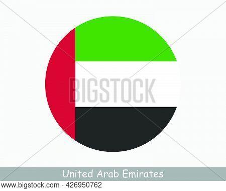 United Arab Emirates Round Circle Flag. Uae Circular Button Banner Icon. Emirati Flag Eps Vector