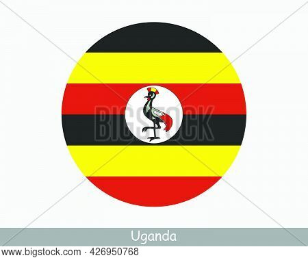 Uganda Round Circle Flag. Ugandan Circular Button Banner Icon. Eps Vector