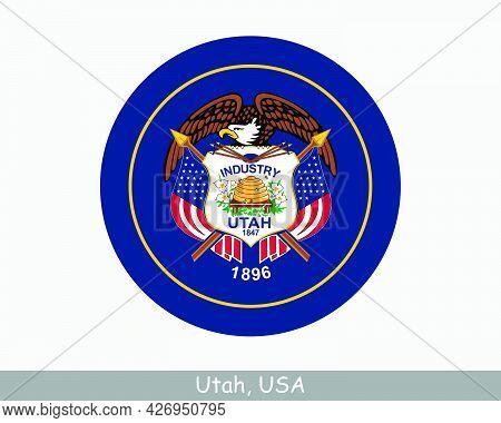 Utah Round Circle Flag. Ut Usa State Circular Button Banner Icon. Utah United States Of America Stat