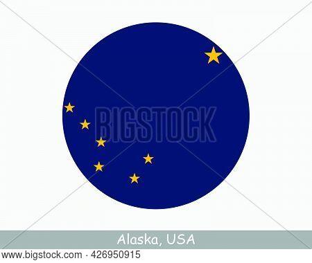 Alaska Round Circle Flag. Ak Usa State Circular Button Banner Icon. Alaska United States Of America