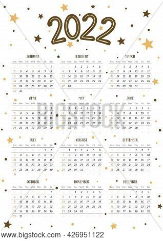2022 Calendar Template In Portrait Orientation With Stars And Dots. 12 Months Yearly Calendar Set In