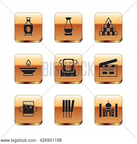 Set Indian Vase, Cup Of Tea And Leaf, Aroma Sticks, Incense, Monkey, Lamp, Yagna, Taj Mahal And Icon