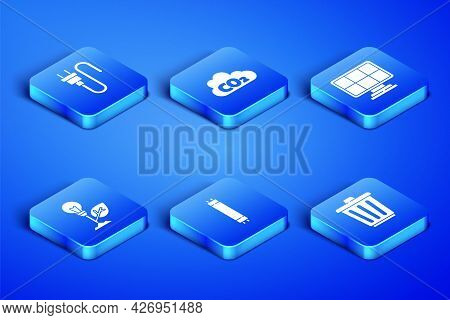 Set Trash Can, Electric Plug, Fluorescent Lamp, Light Bulb With Leaf, Co2 Emissions In Cloud And Sol