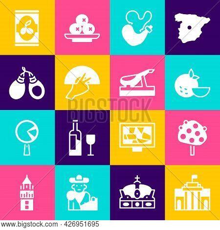Set Prado Museum, Orange Tree, Fruit, Spanish Wineskin, Fan Flamenco, Castanets, Olives Can And Jamo