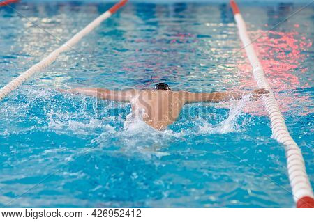 A Swimmer Waves His Arms While Performing A Butterfly At A Training Session In The Pool, Blurred Foc